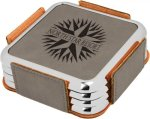 Leatherette Square Coaster Set with Silver Edge -Gray  Square Rectangle Awards